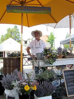Flower cart at Sutter Creek Farmers Market